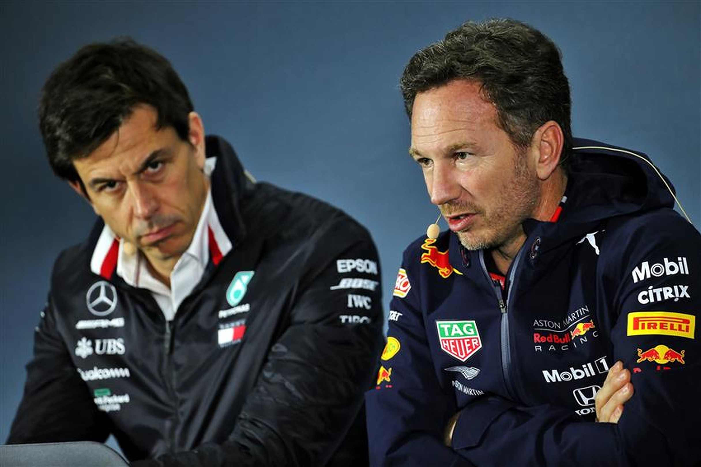 Mercedes team principal Toto Wolff and Christian Horner - Formula1news.co.uk
