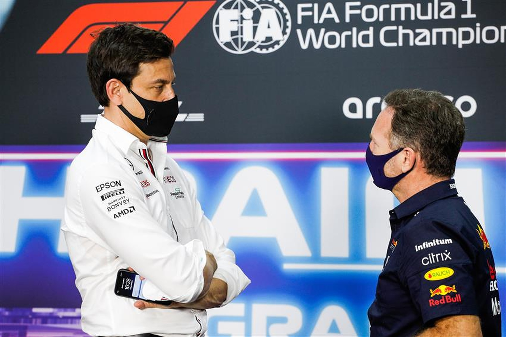 Toto Wolff and Christian Horner at Bahrain 2021 - Formula1news.co.uk
