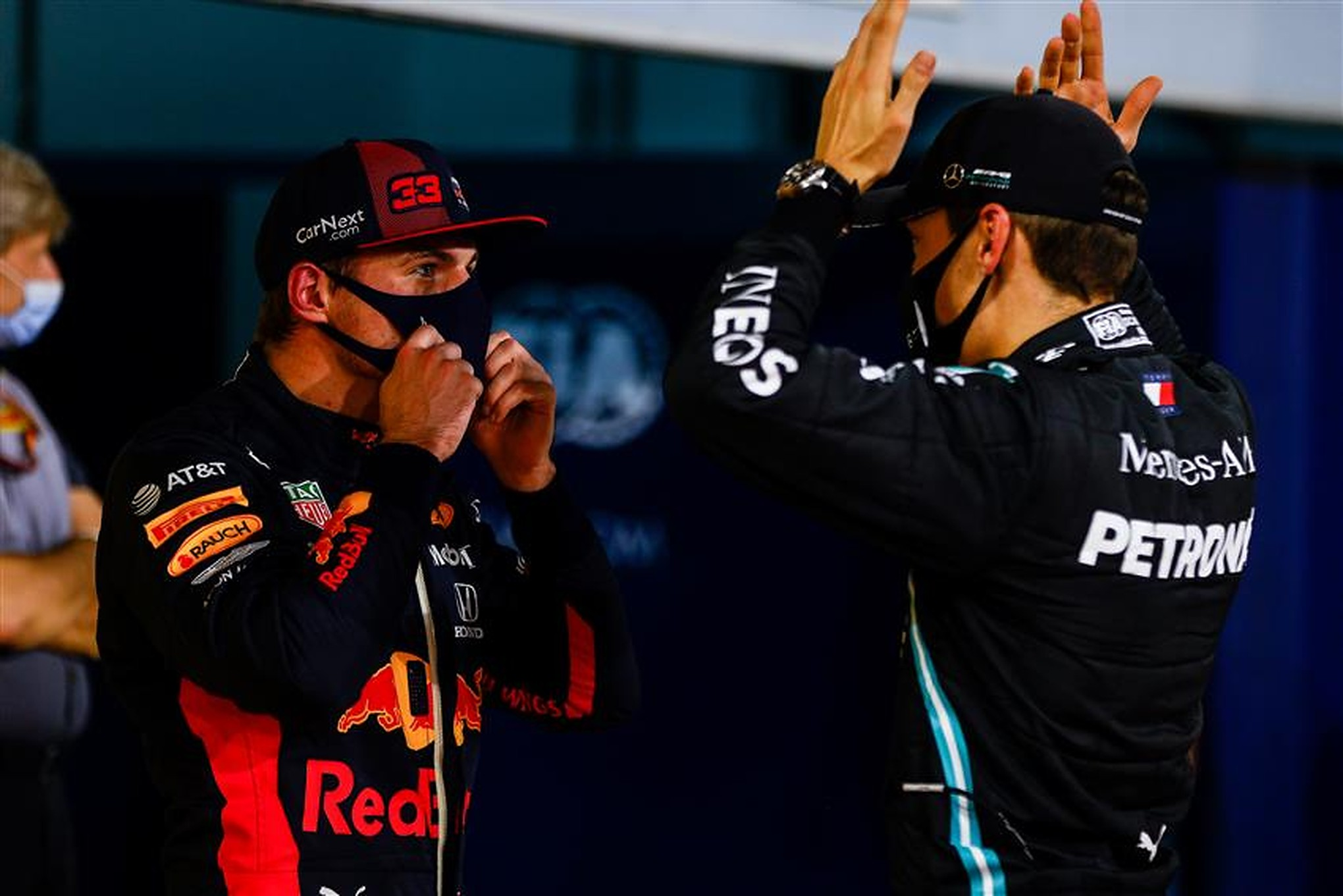 George Russell and Max Verstappen at Bahrain 2020 - Formula1news.co.uk