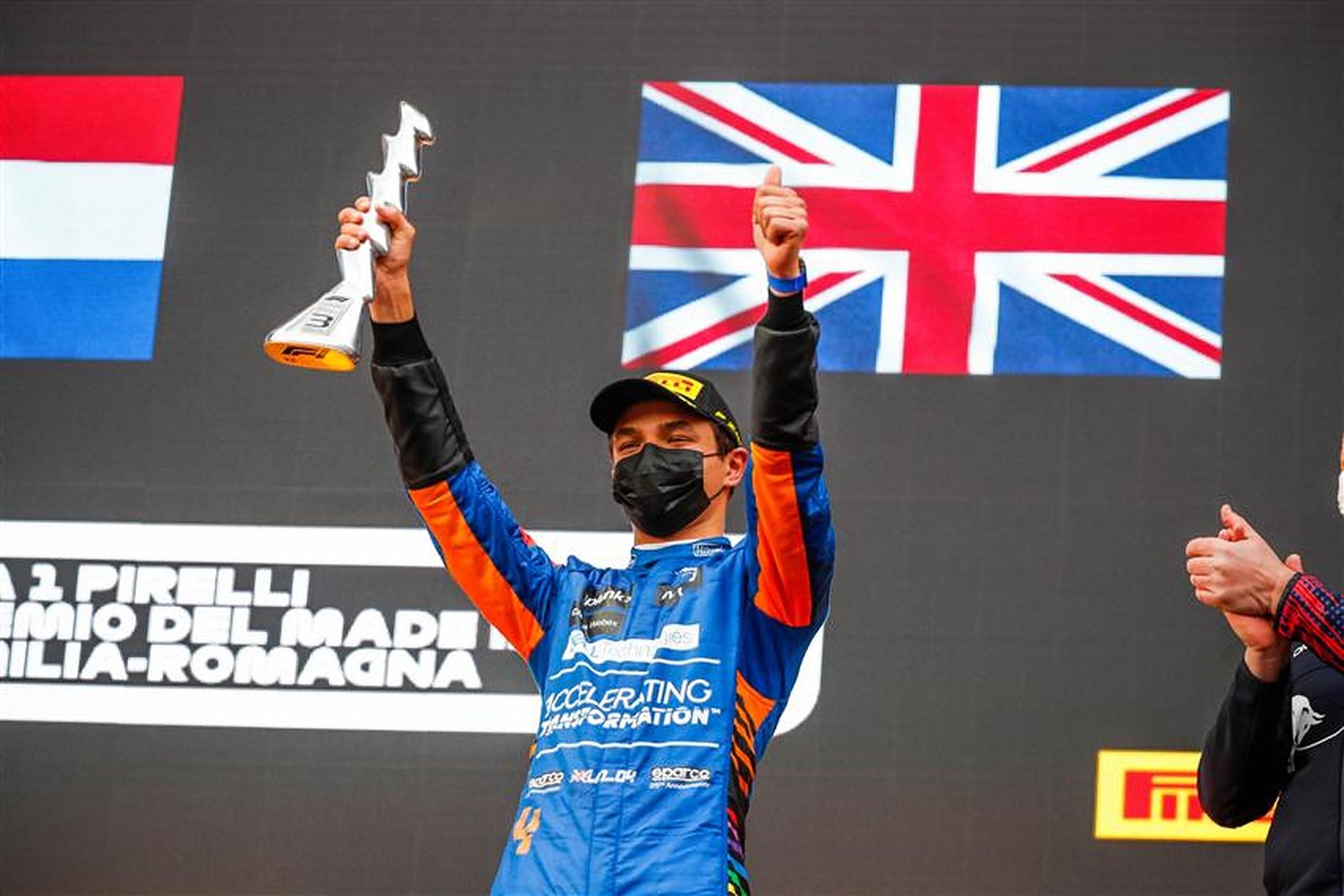 Lando Norris on the podium at Imola - Formula1news.co.uk