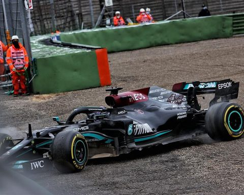 Lewis Hamilton in the gravel at Imola - Formula1news.co.uk