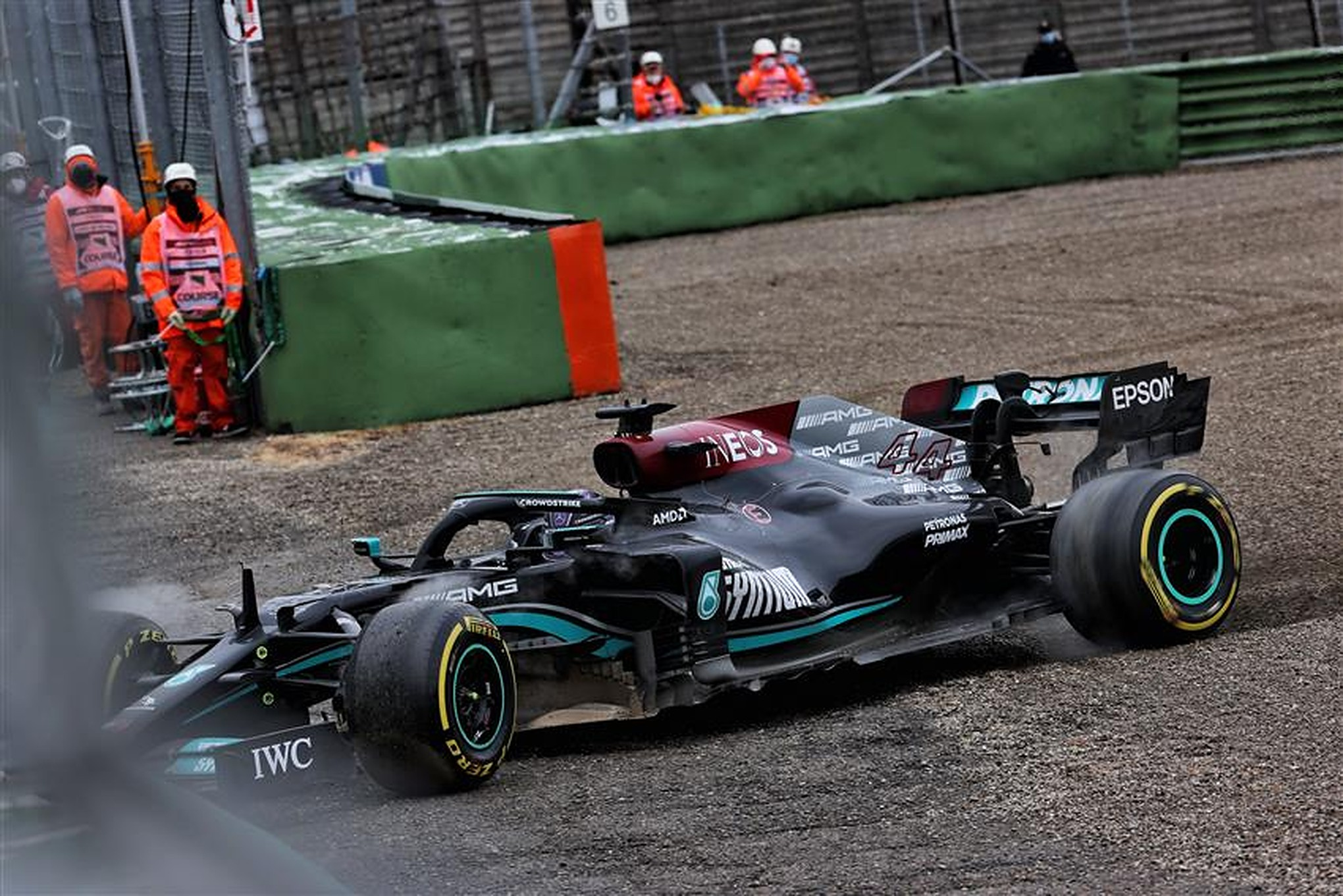 Lewis Hamilton in the gravel at Imola - Formula1news.co.uk