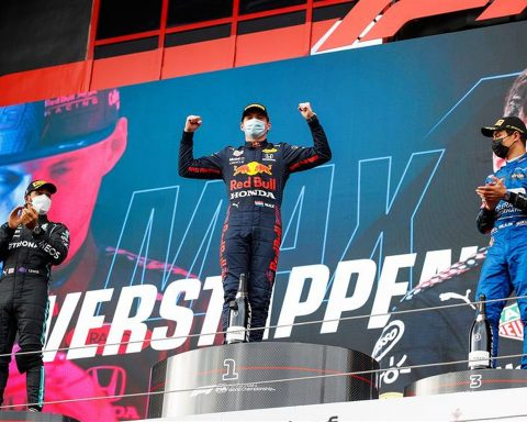 Max Verstappen and Lewis Hamilton on the podium at Imola - Formula1news.co.uk