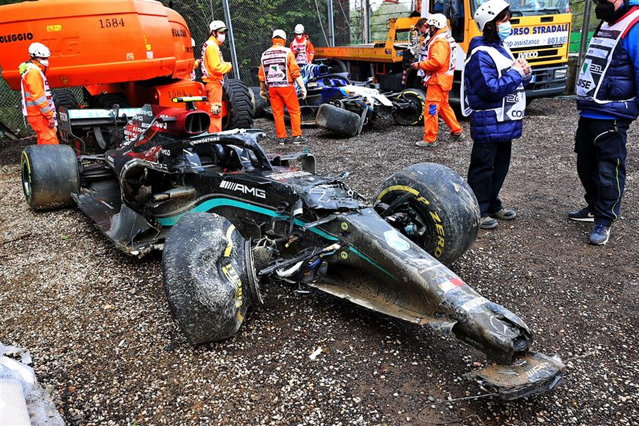Valtteri Bottas' Mercedes at Imola after his crash with George Russell - Formula1news.co.uk