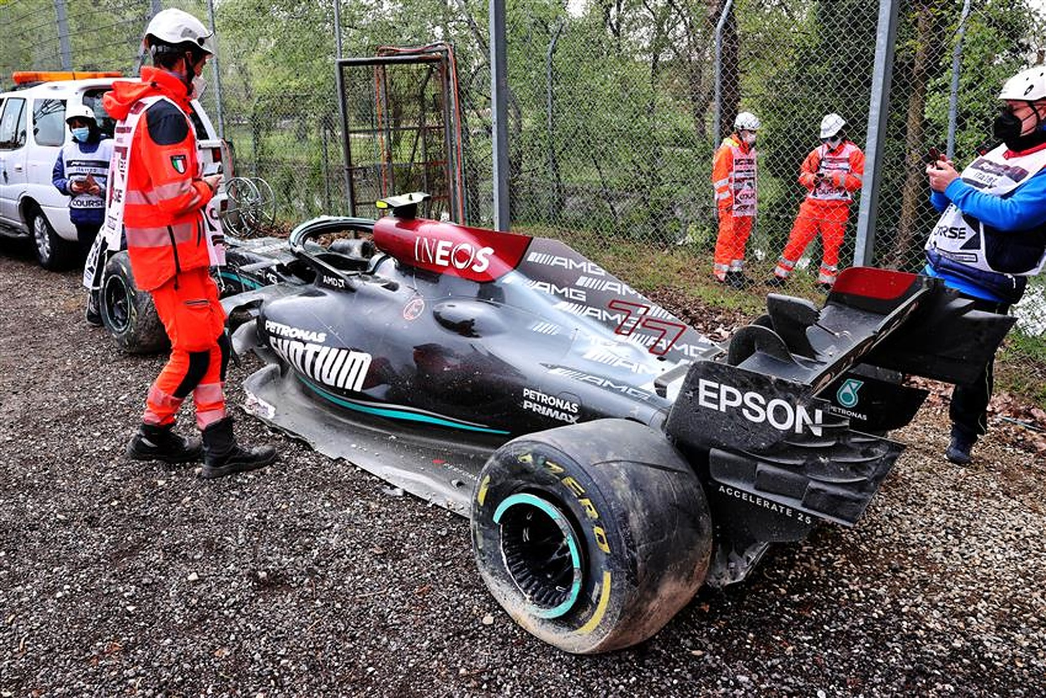 Valtteri Bottas' Wrecked Mercedes at Imola - Formula1news.co.uk